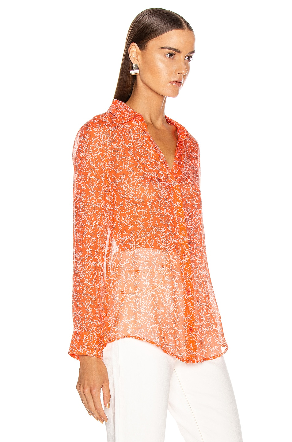 Image 2 of Equipment Essential Top in Hot Coral & Bright White
