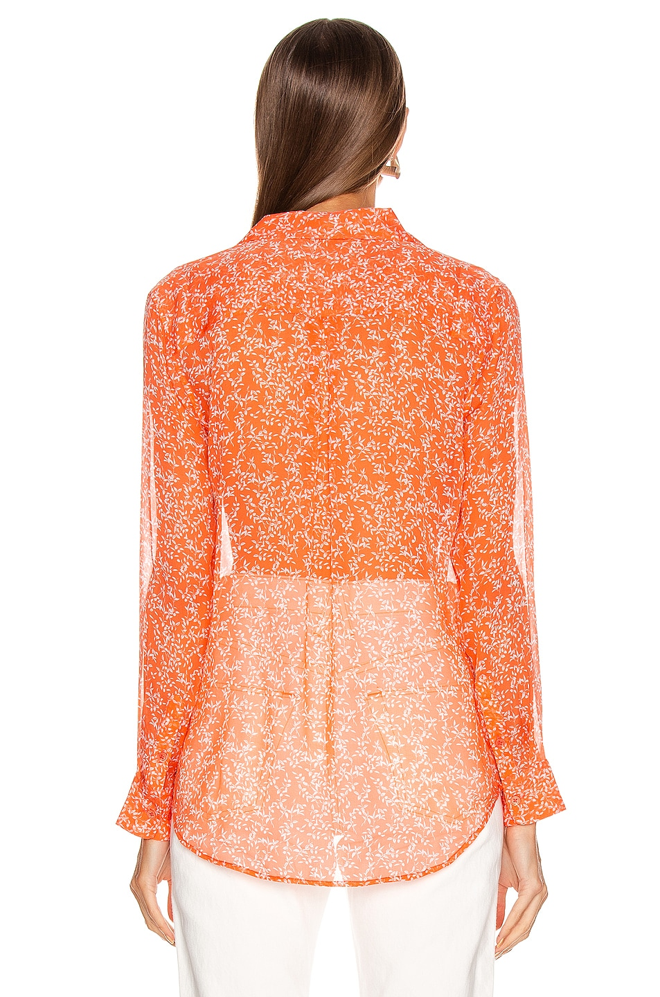 Image 3 of Equipment Essential Top in Hot Coral & Bright White