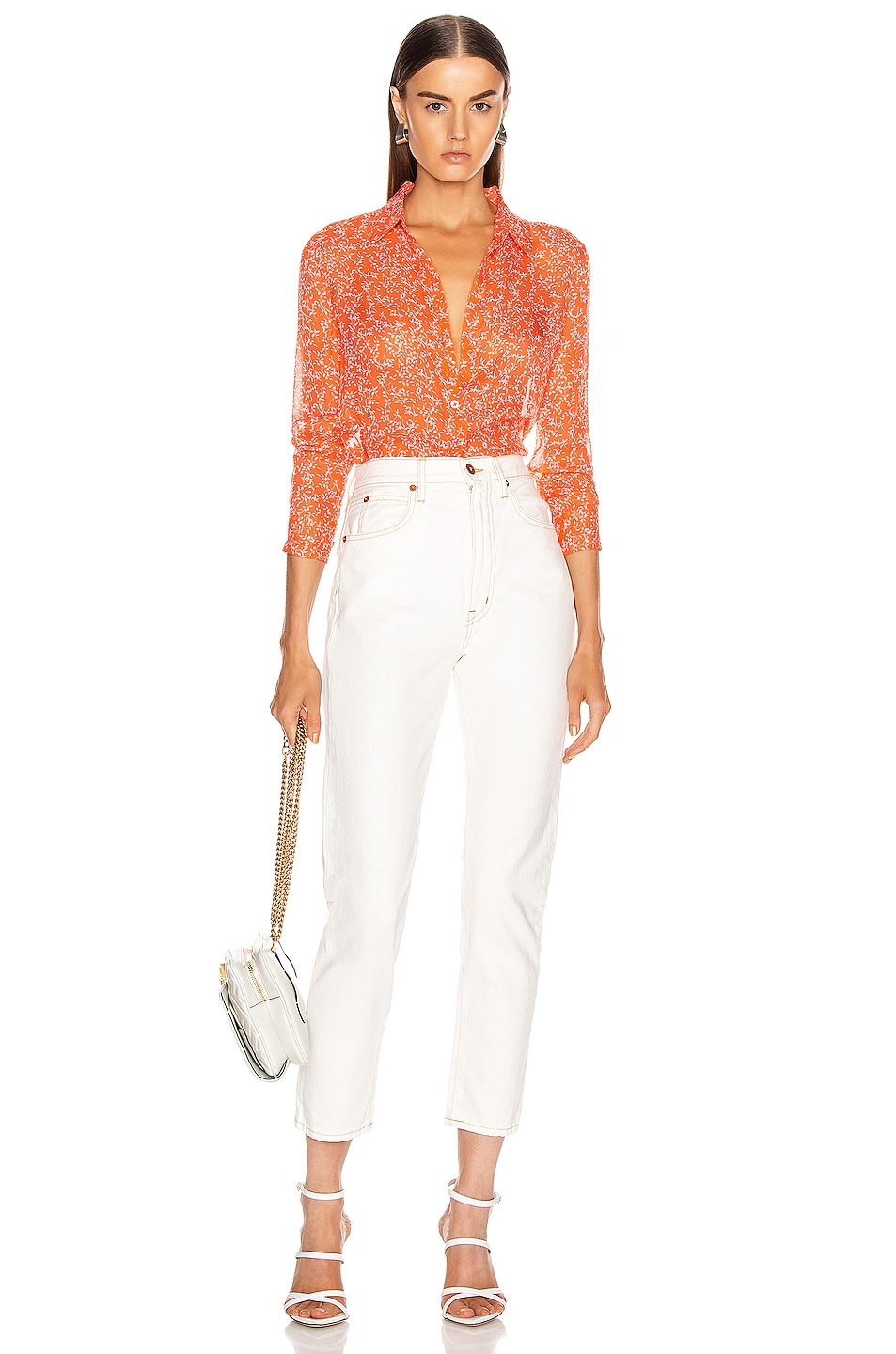 Image 4 of Equipment Essential Top in Hot Coral & Bright White