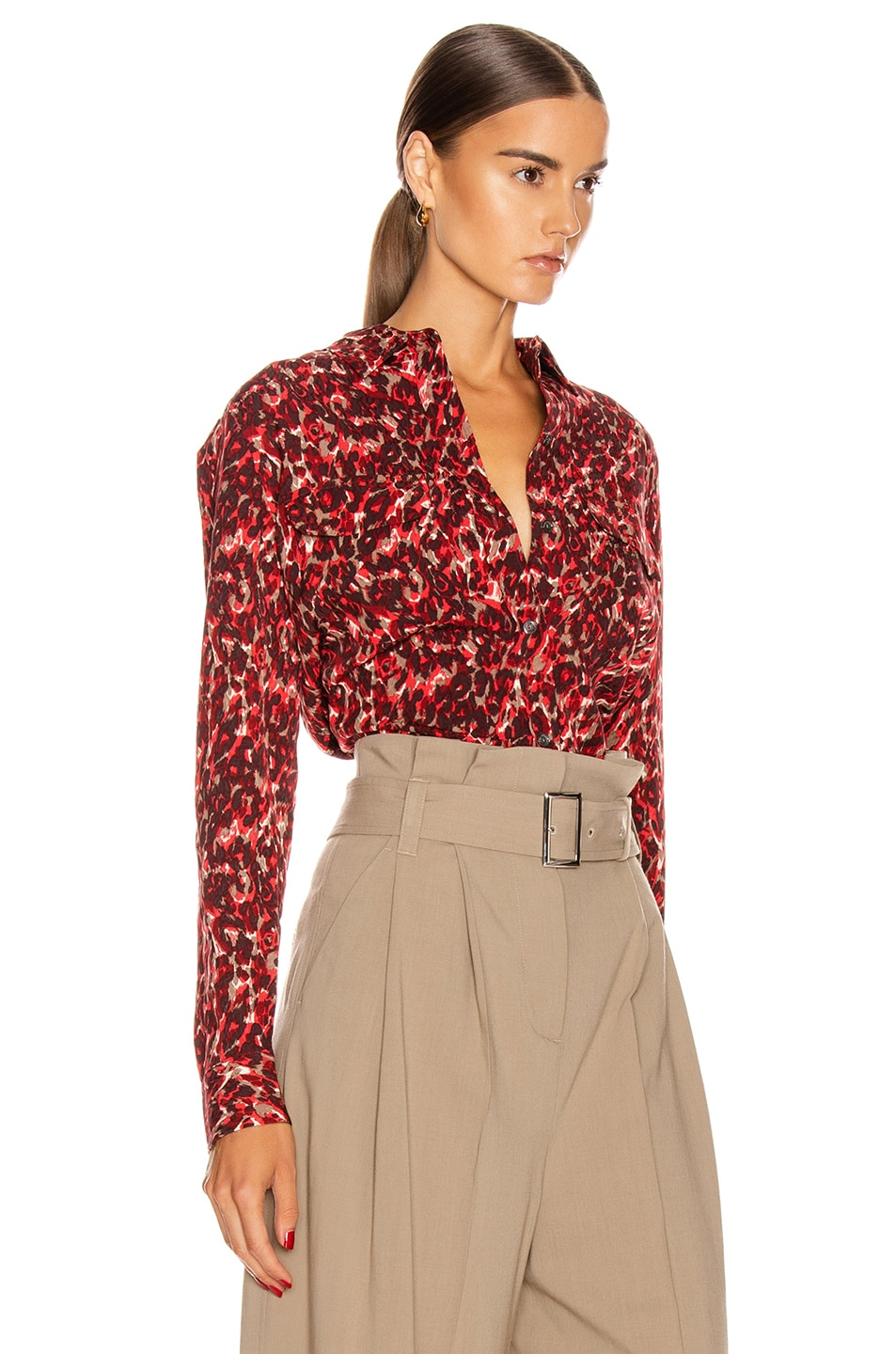 Image 2 of Equipment Slim Signature Top in Merlot Multi