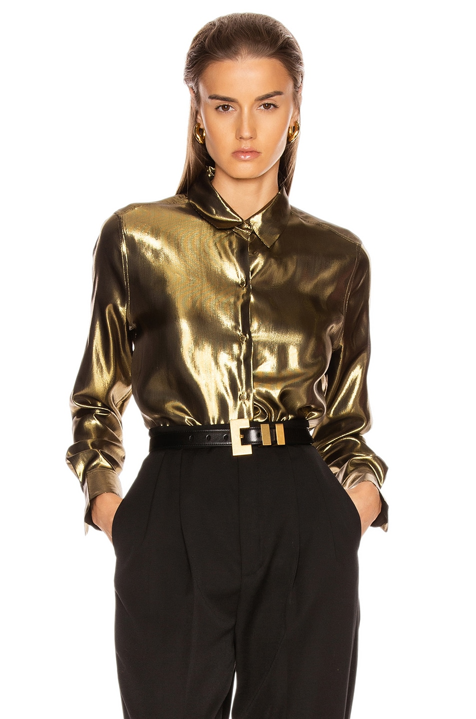 Image 1 of Equipment Burnel Top in Metallic Gold