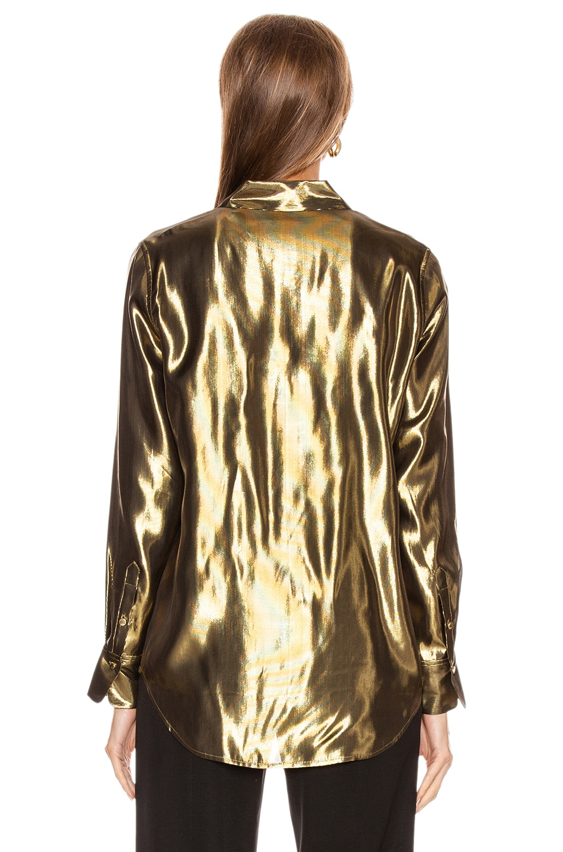 Image 3 of Equipment Burnel Top in Metallic Gold