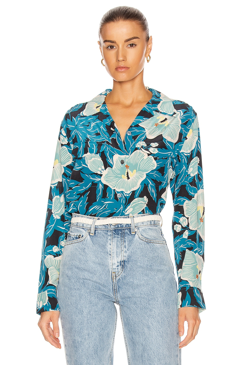 Image 1 of Equipment Amaia Long Sleeve Top in Saxony Blue Multi