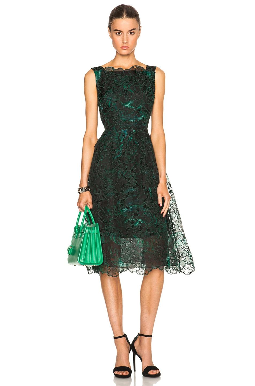 Image 1 of Erdem Mara Dress in Black & Green