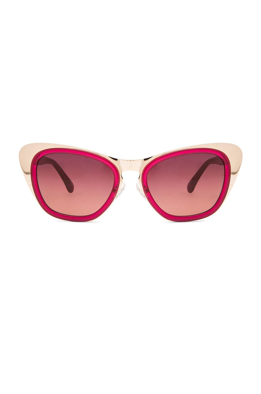 fa2f58541b Image 1 of Erdem Metal Plated Cat Eye Sunglasses in Burgundy   Gold
