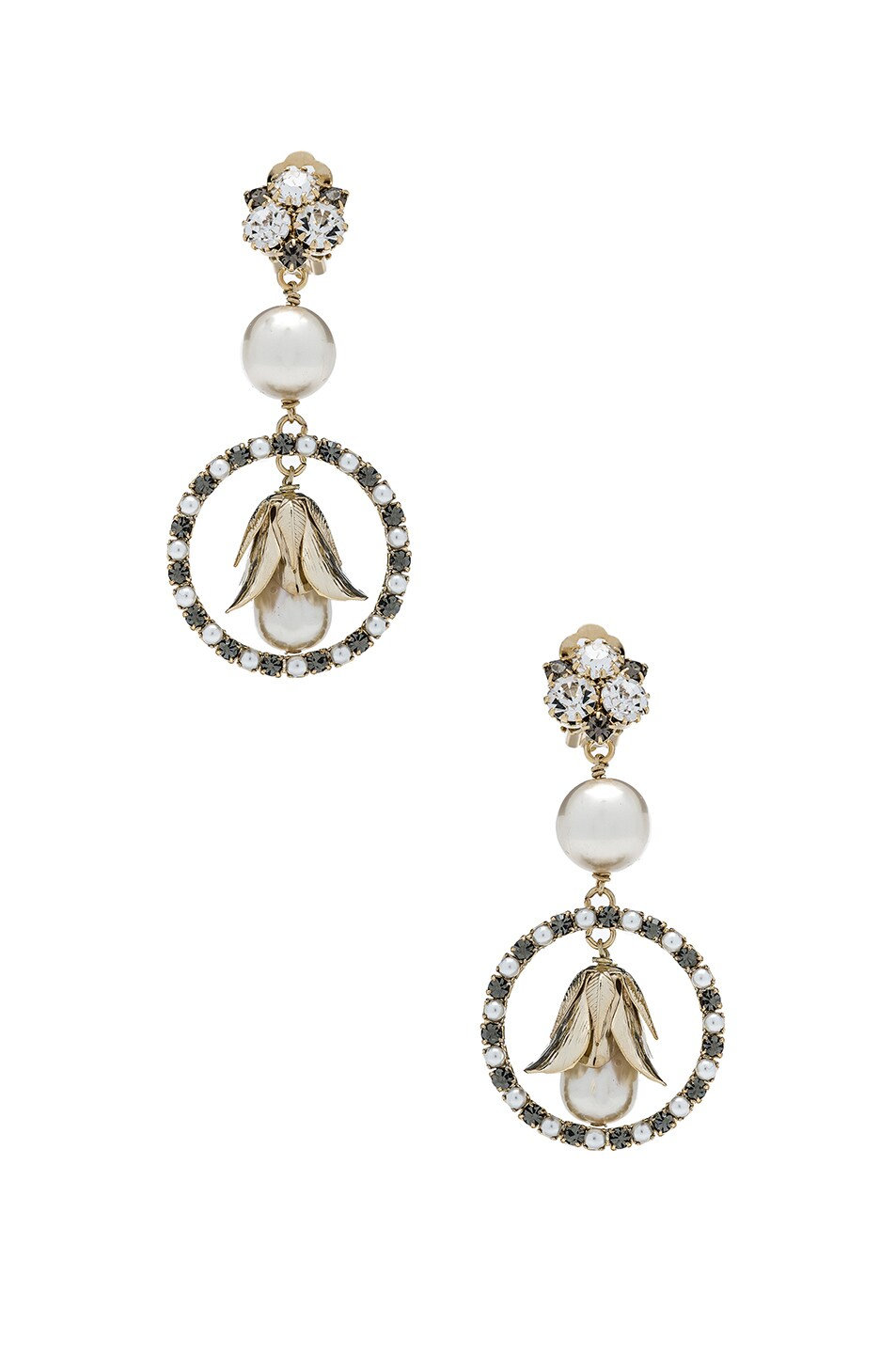 Image 1 of Erdem Earrings in Pearl & Petal