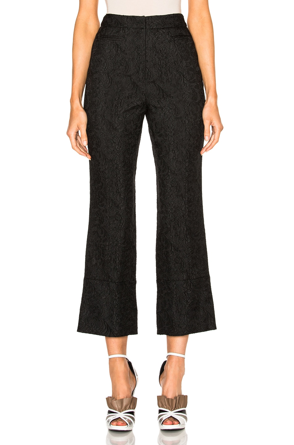 Image 1 of Erdem Stretch Jacquard Verity Trousers in Black