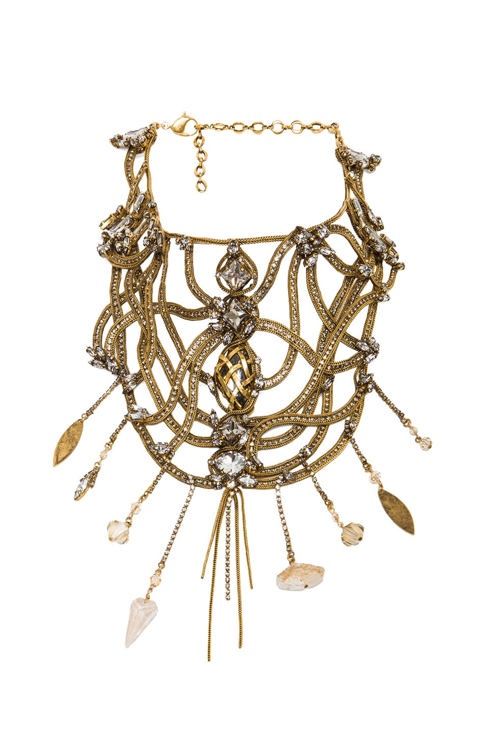 Image 1 of Erickson Beamon Mesh Embellished Necklace in Gold