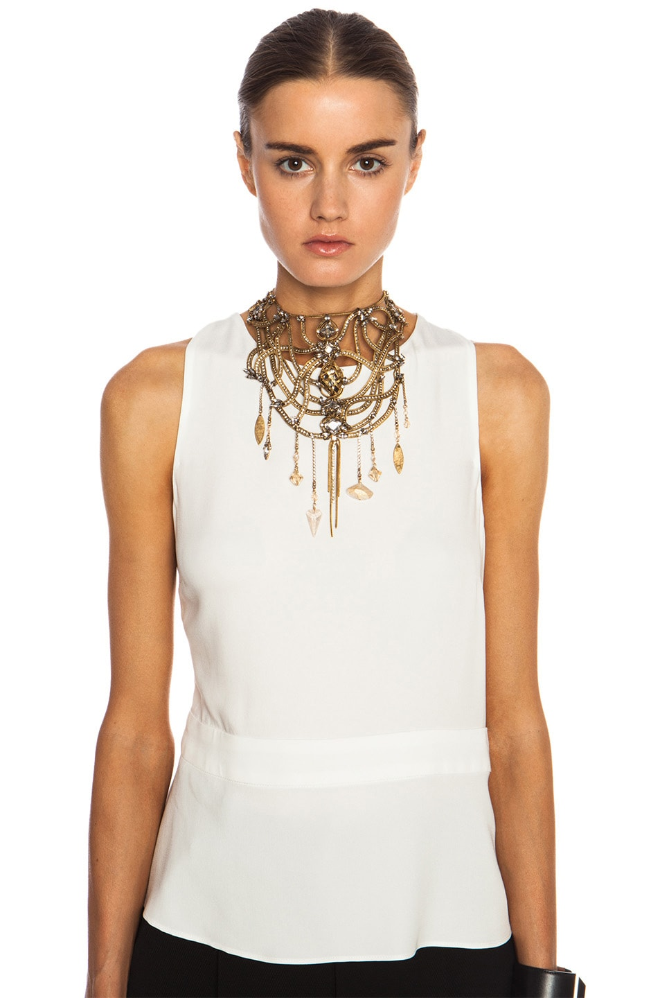 Image 3 of Erickson Beamon Mesh Embellished Necklace in Gold