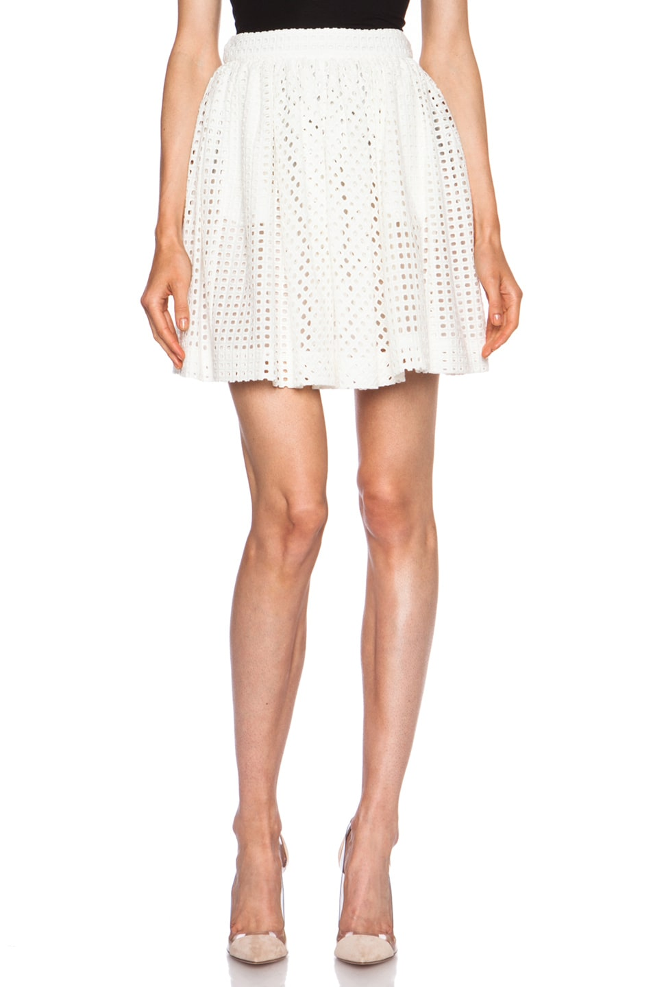 Image 1 of  Sasson Buri Ruffle Cotton Skirt in Ivory