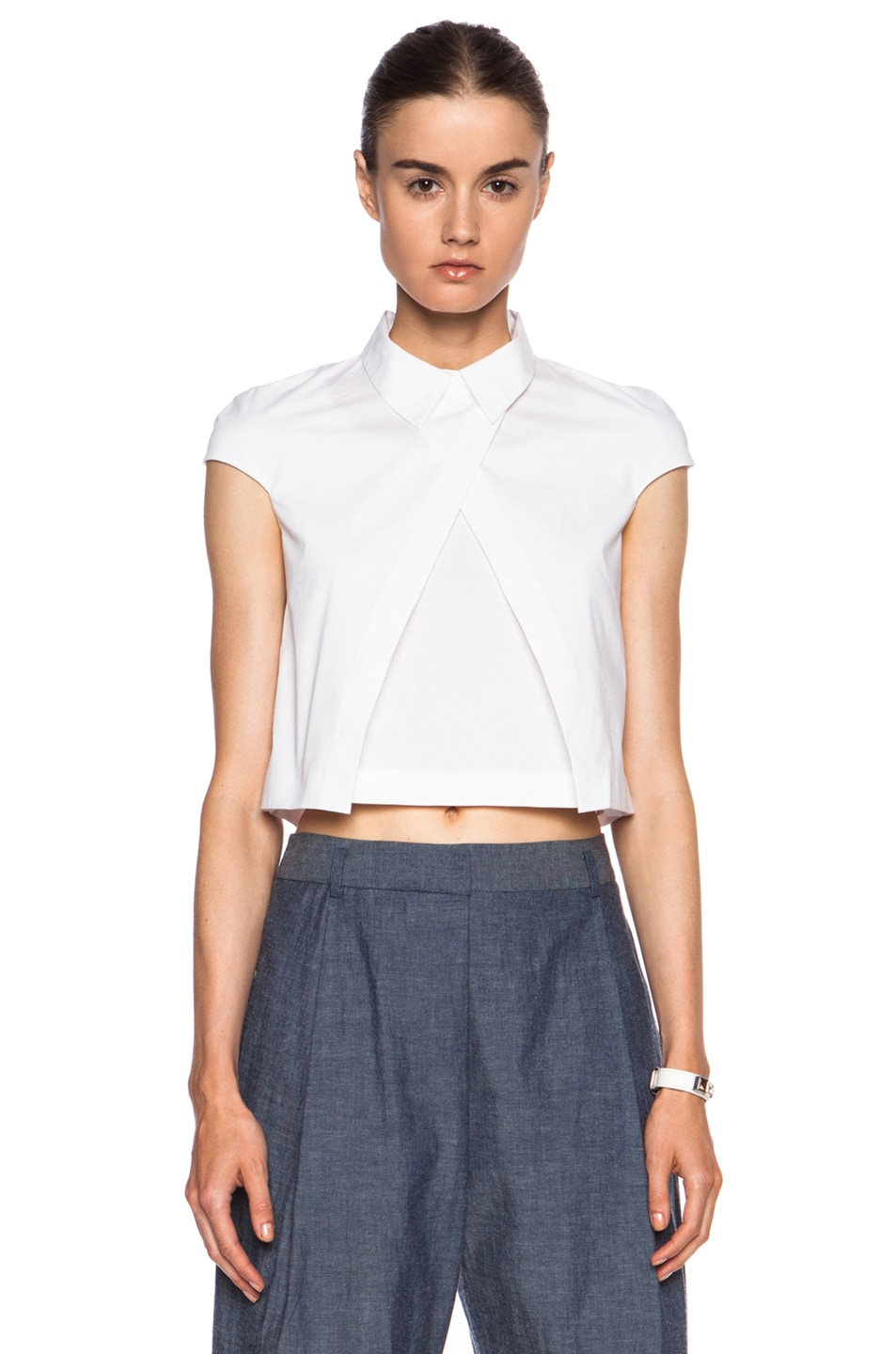 Image 1 of  Sasson Johnny Linen Top in Ivory