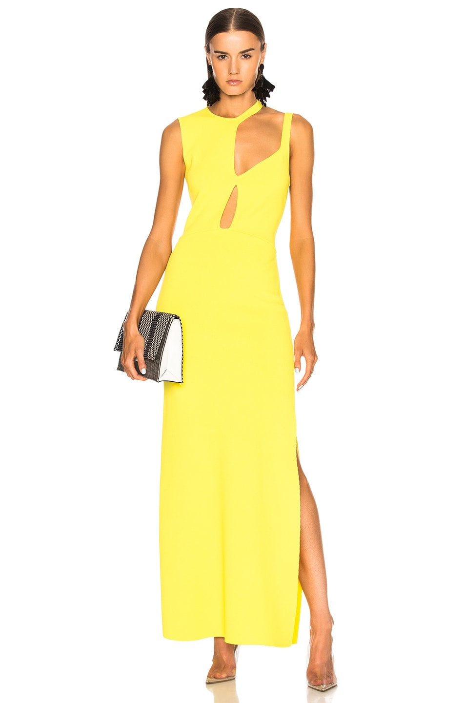 Esteban Cortazar Knit Cut Out Gown in Yellow