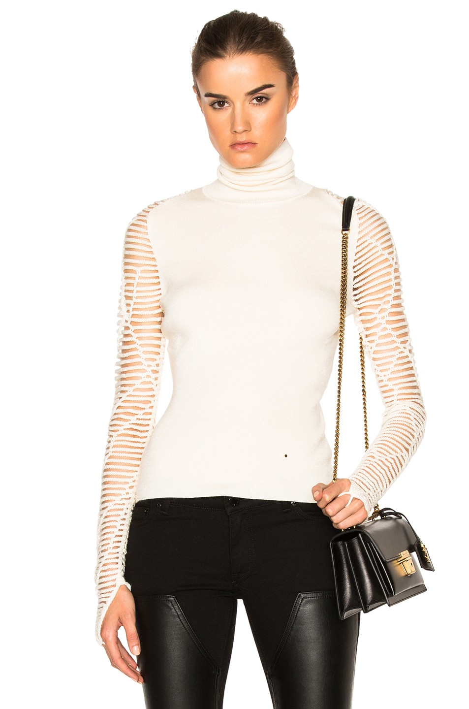 Esteban Cortazar Cropped Turtleneck Sweater in Ecru | FWRD