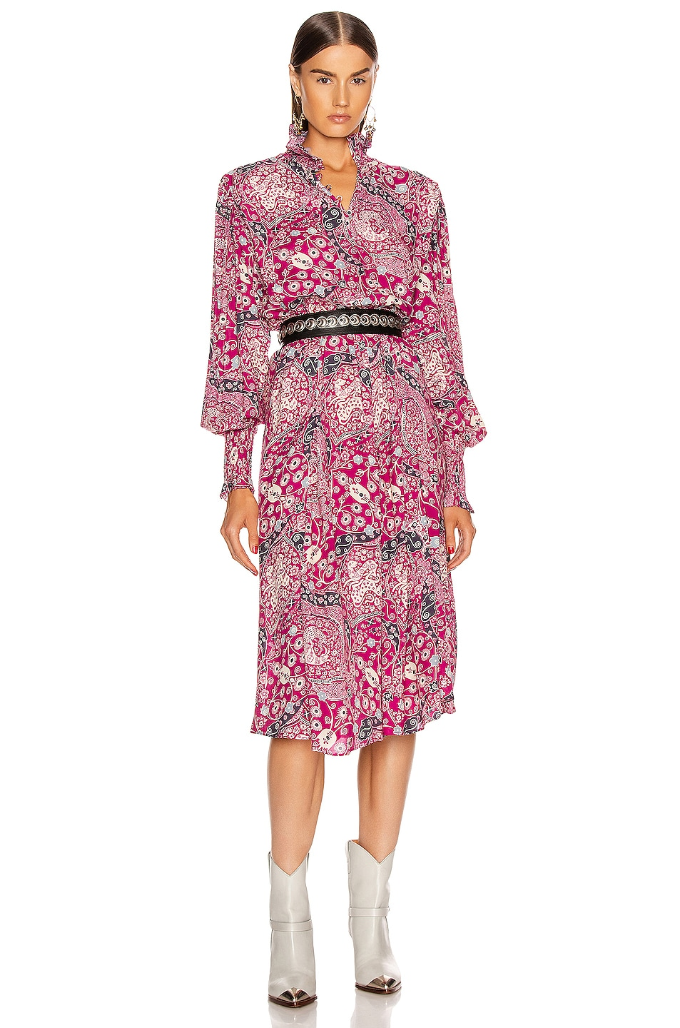 Image 1 of Isabel Marant Etoile Cescott Dress in Fuchsia