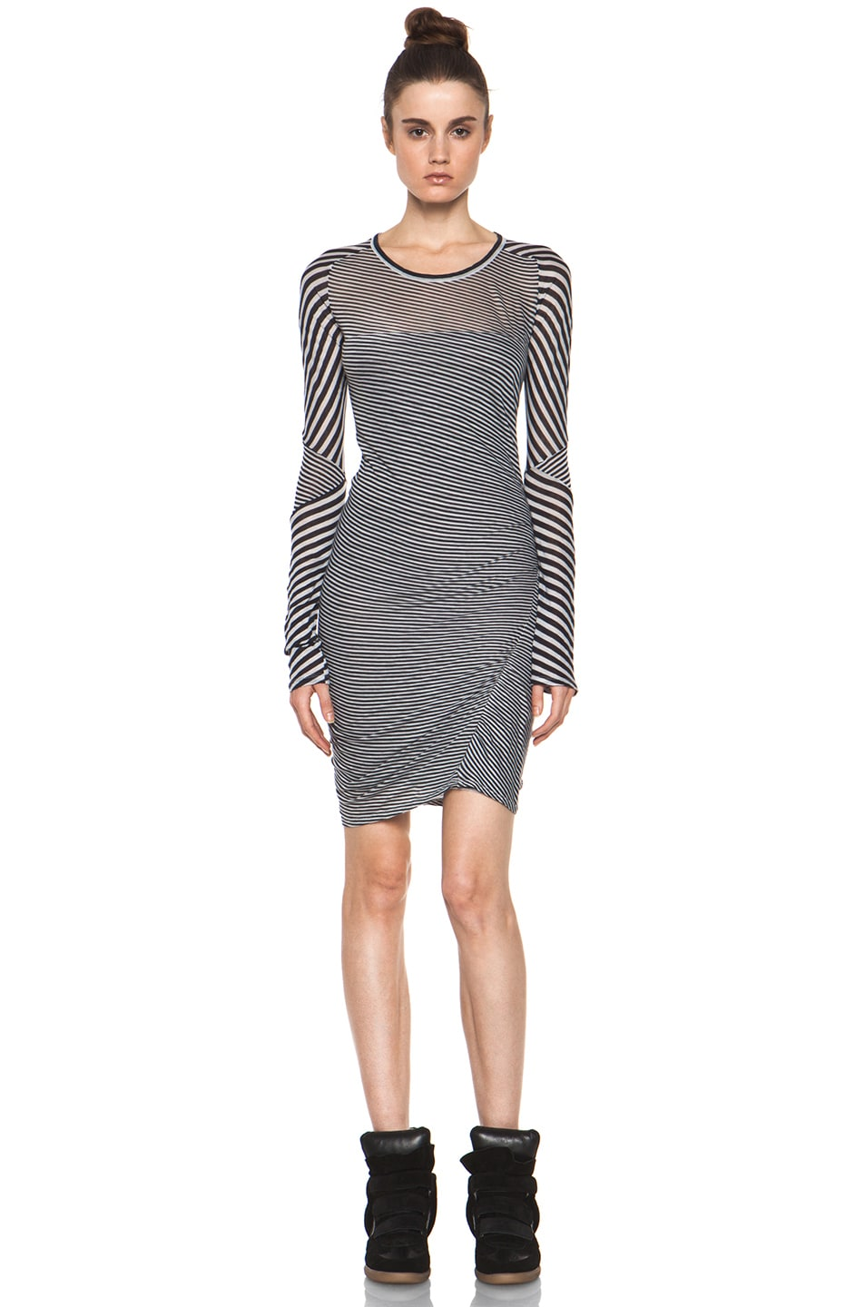 Image 1 of Isabel Marant Etoile Easton Super Light Jersey Striped Dress in Charbon