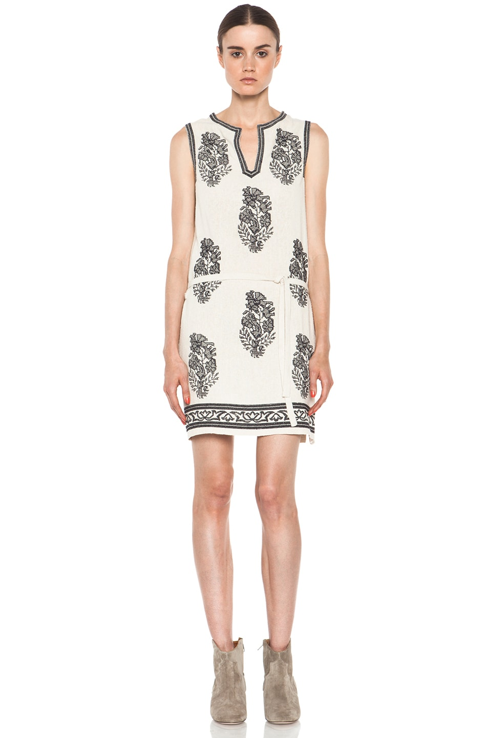 Image 1 of Isabel Marant Etoile Dita Embroidered Noil Silk Dress in Ecru & Noir
