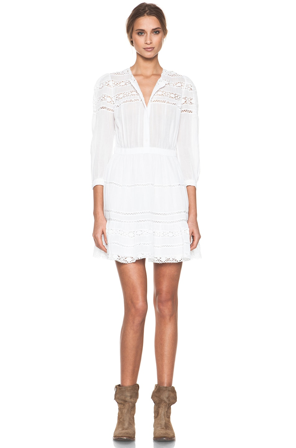 5cbe406684 Image 1 of Isabel Marant Etoile Greta Cotton Voile and Lace Dress in Blanc
