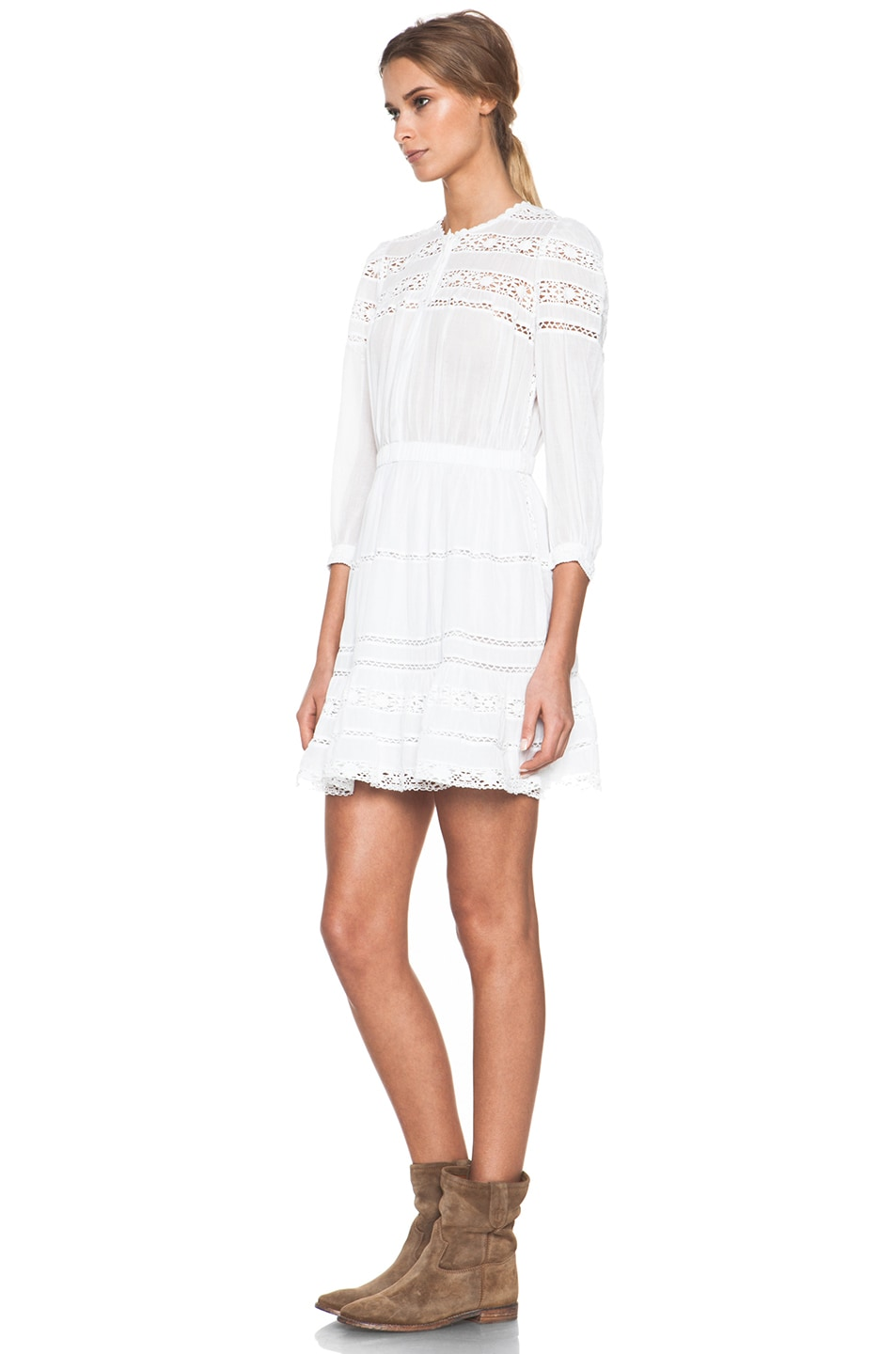 8b51e7a078 Image 3 of Isabel Marant Etoile Greta Cotton Voile and Lace Dress in Blanc