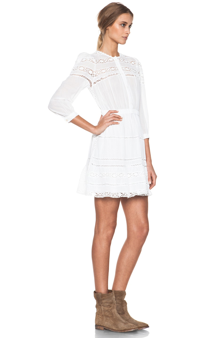 5e29aa7b09 Image 4 of Isabel Marant Etoile Greta Cotton Voile and Lace Dress in Blanc