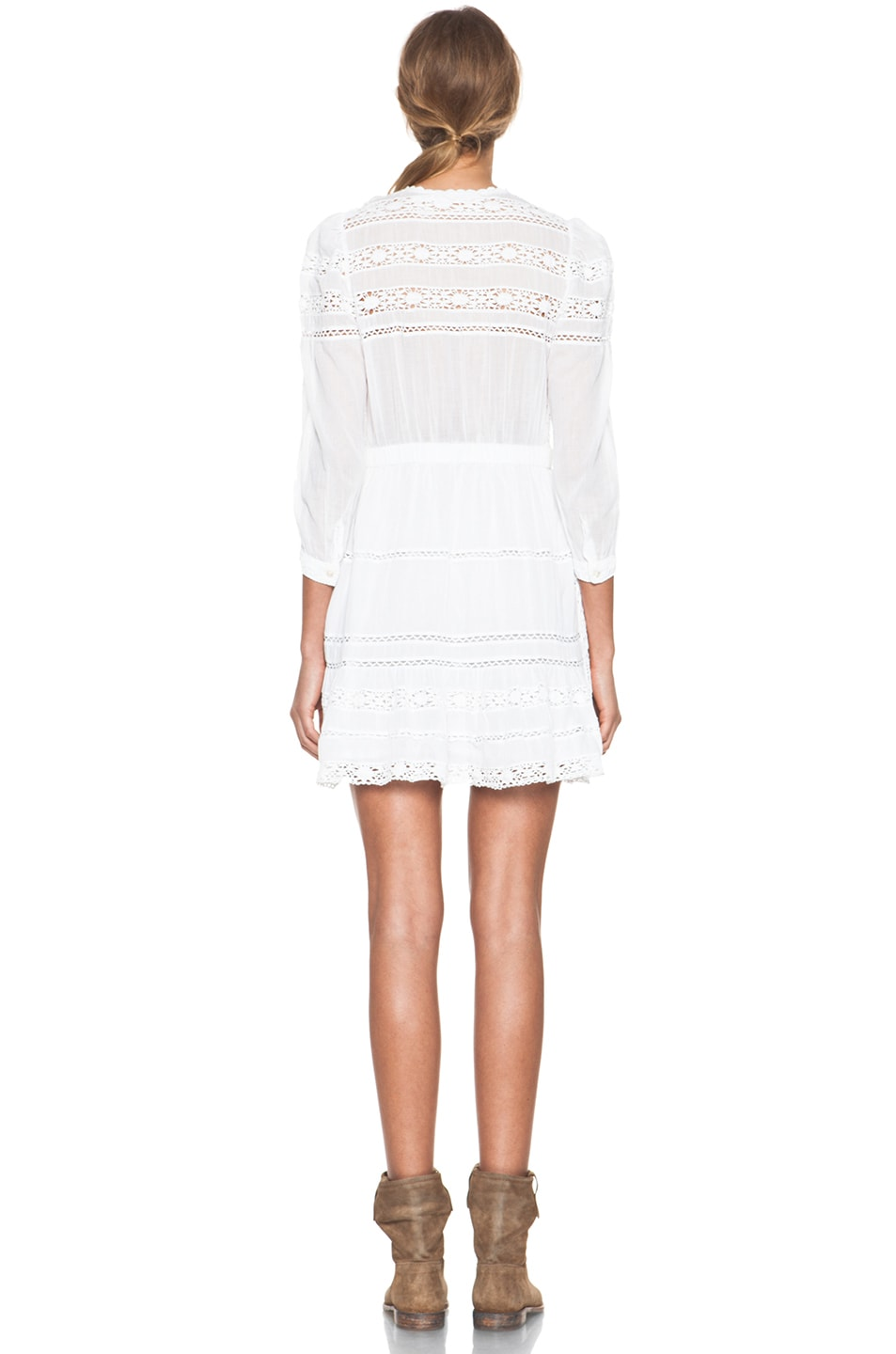 aeff619bb0 Image 5 of Isabel Marant Etoile Greta Cotton Voile and Lace Dress in Blanc