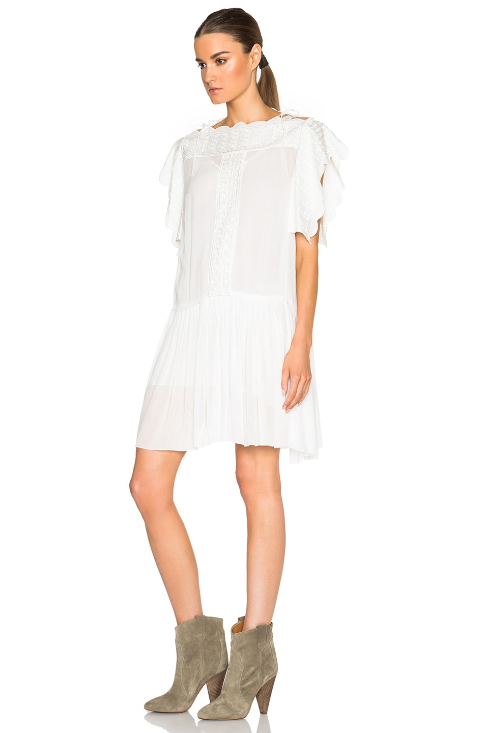 Image 2 of Isabel Marant Etoile Amel Embroidered Dancers Dress in White