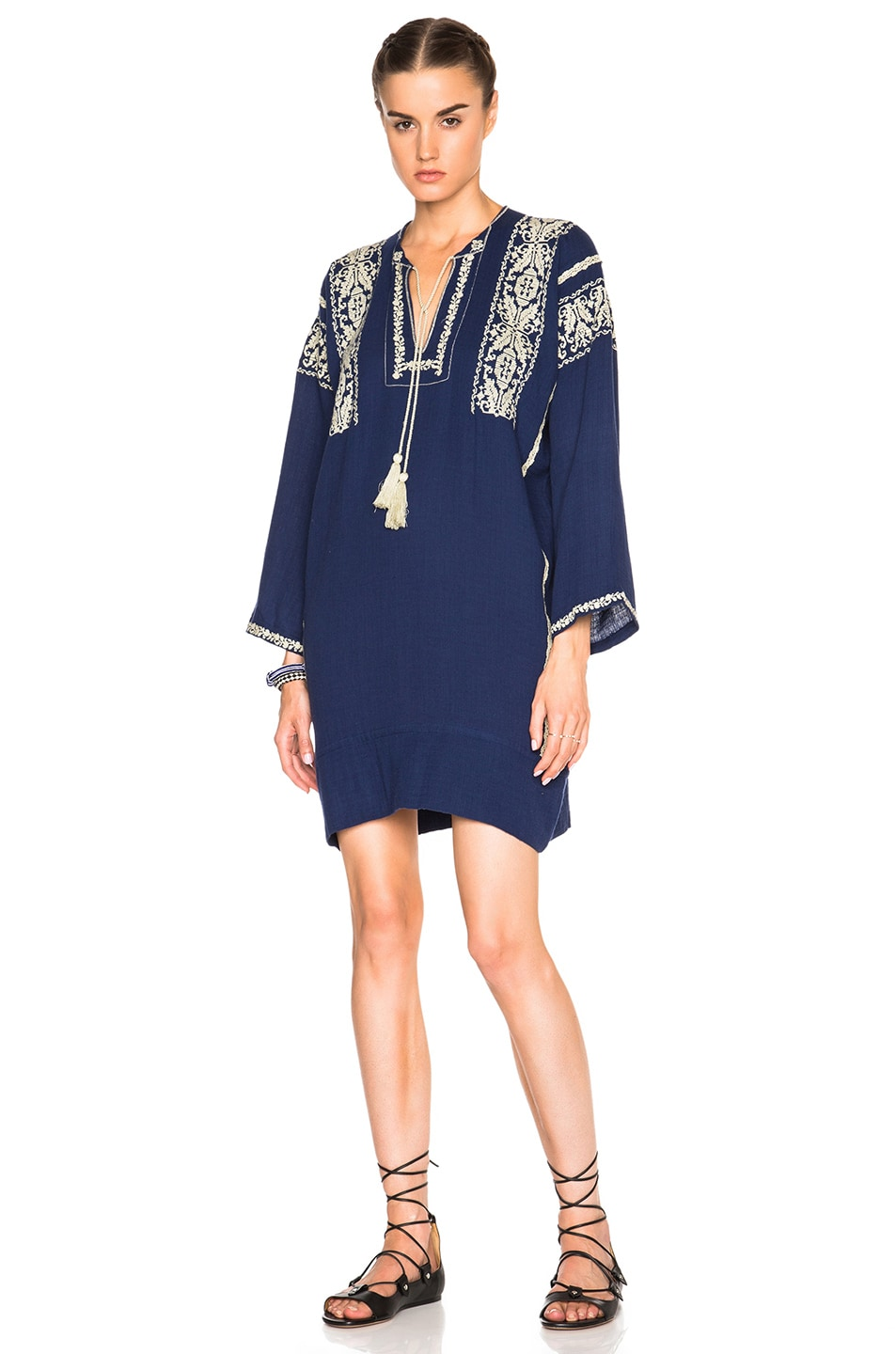 Image 1 of Isabel Marant Etoile Vinny Ethnic Embroidery Dress in Midnight