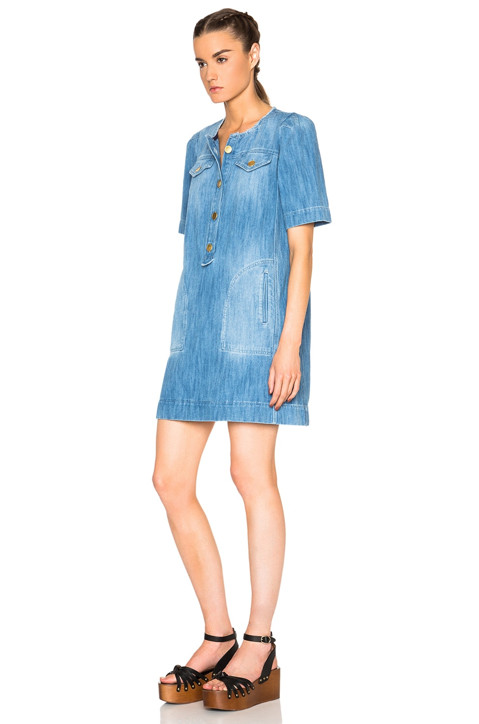 8e085a6bf8 Image 2 of Isabel Marant Etoile Oriane Fluffy Jean Dress in Blue