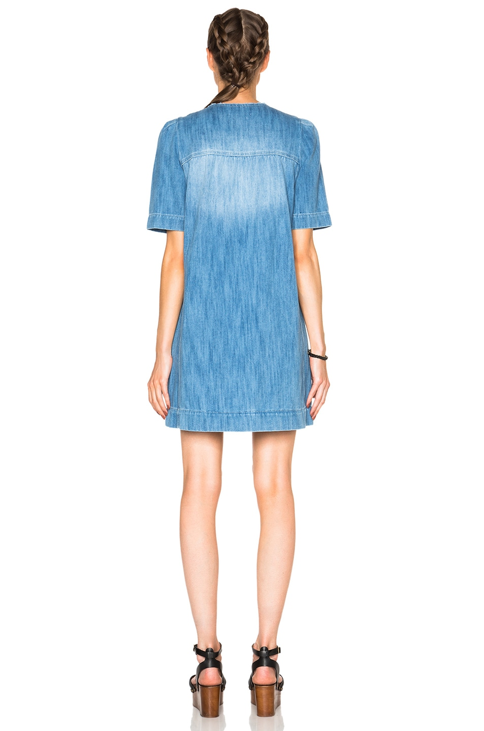 c5a3847a6b Image 4 of Isabel Marant Etoile Oriane Fluffy Jean Dress in Blue