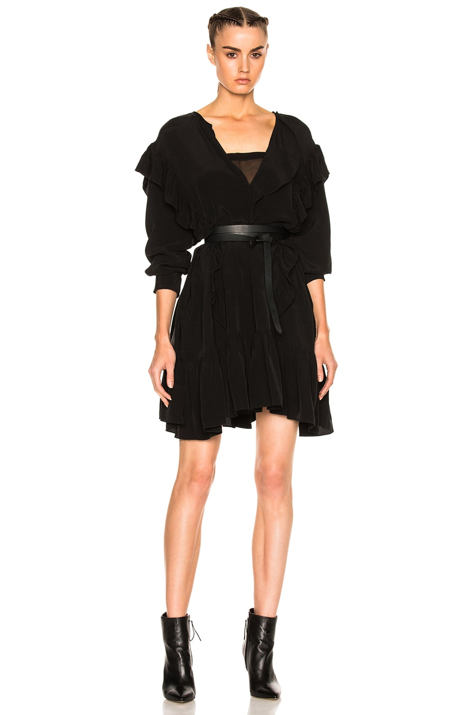 Image 1 of Isabel Marant Etoile Wedy City Flou Ruffled Mini Dress in Black