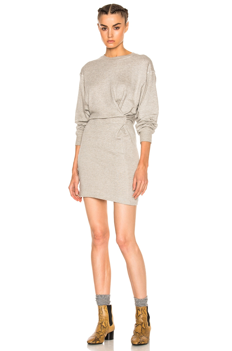 Image 1 of Isabel Marant Etoile Fanley Sweatshirt Dress in Light Gray
