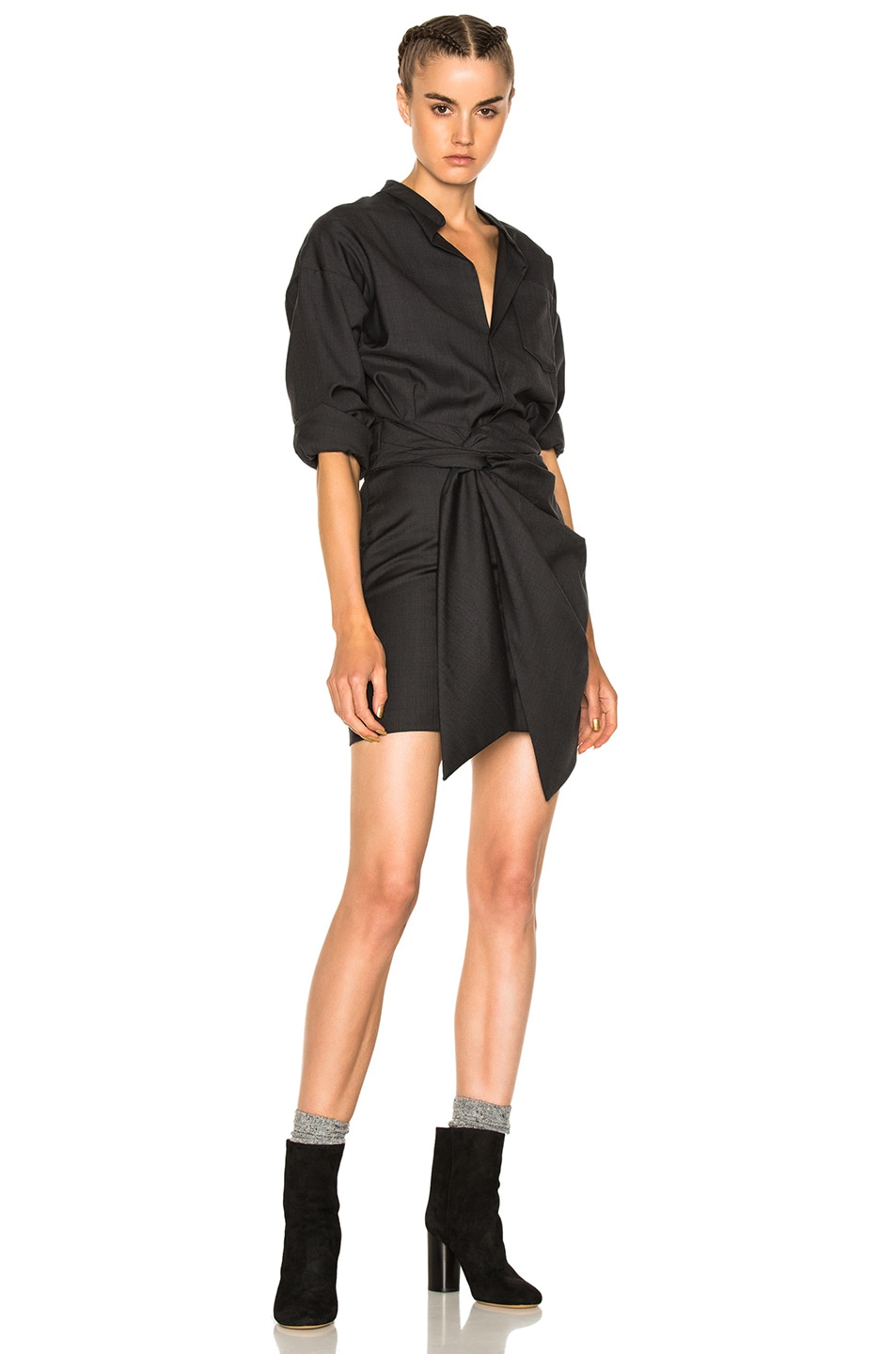 Image 1 of Isabel Marant Etoile Nolla Super 100 Wool Dress in Anthracite