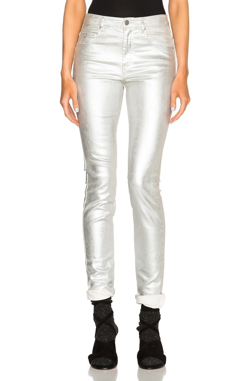 41273c77dda6 Image 1 of Isabel Marant Etoile Ellos Metallic Jeans in Silver
