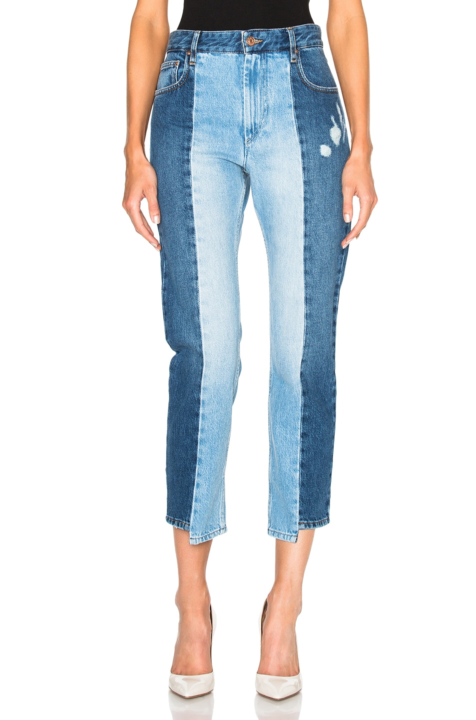 2688e0ef6b76 Image 1 of Isabel Marant Etoile Clancy Patchwork Denim in Light Blue