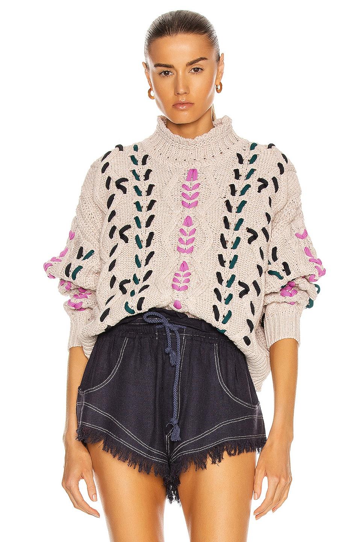 Image 1 of Isabel Marant Etoile Zola Sweater in Pink & Ecru