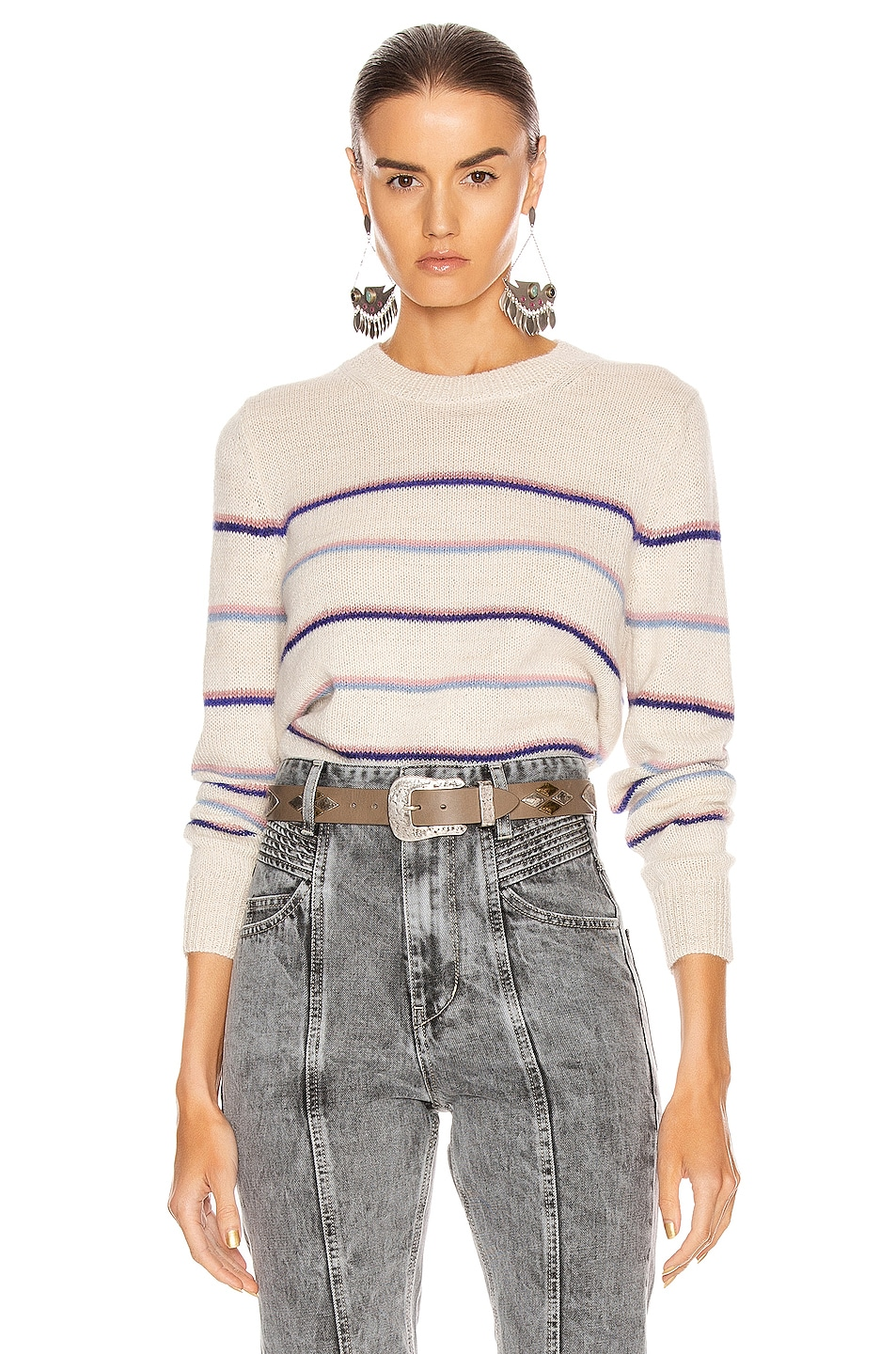 Image 1 of Isabel Marant Etoile Gianili Sweater in Pink & Ecru