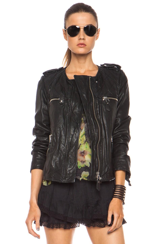 Image 1 of Isabel Marant Etoile Kady Washed Leather Jacket in Black