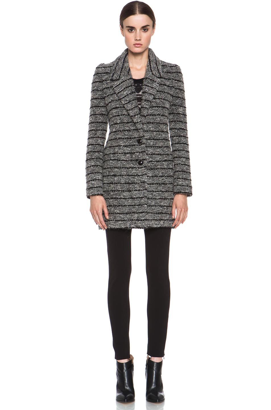 Image 2 of Isabel Marant Etoile Ifea Cowens Wool-Blend Knit Coat in Grey