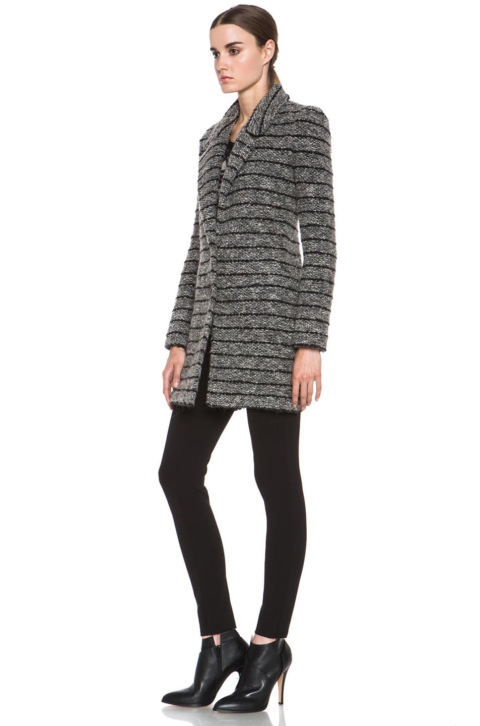 Image 3 of Isabel Marant Etoile Ifea Cowens Wool-Blend Knit Coat in Grey