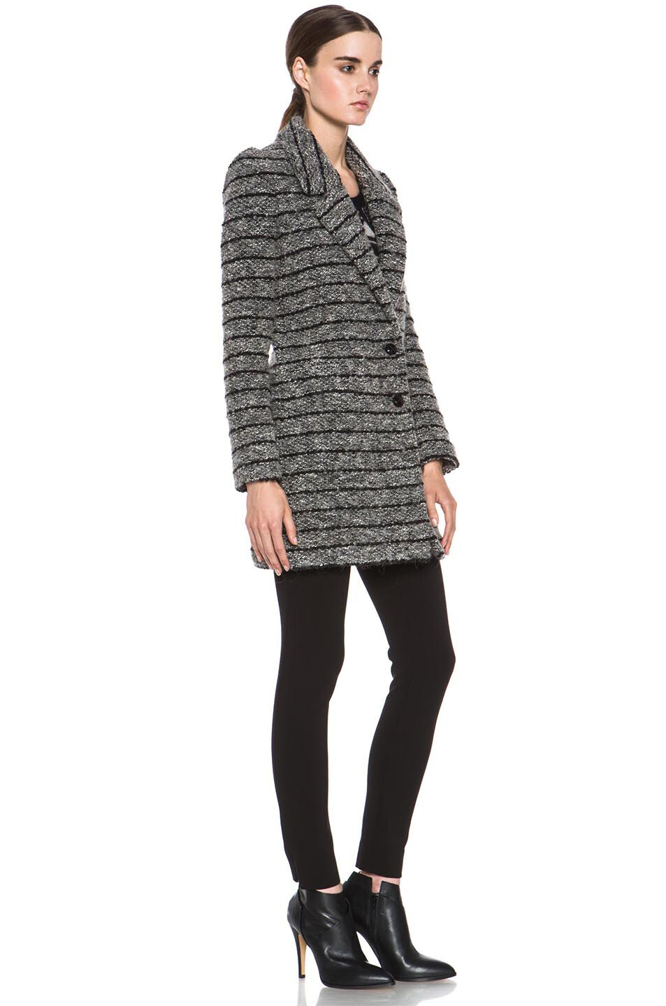 Image 4 of Isabel Marant Etoile Ifea Cowens Wool-Blend Knit Coat in Grey
