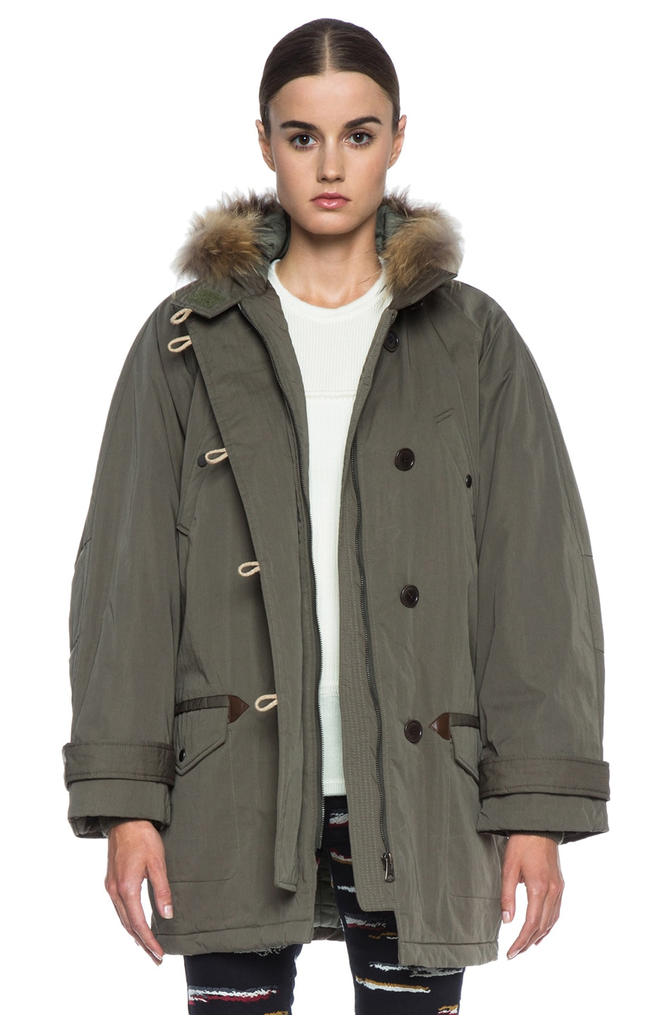 Image 1 of Isabel Marant Etoile Felton Cotton-Blend Parka with Fur in Khaki