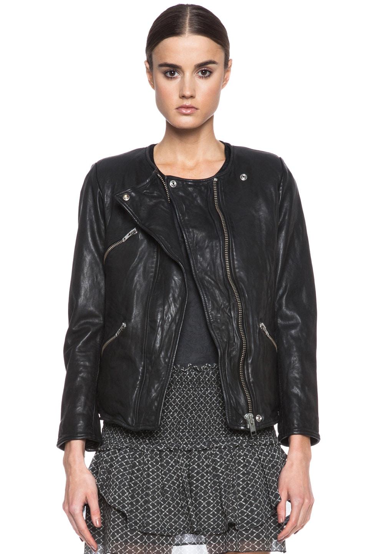 Image 1 of Isabel Marant Etoile Bradi Washed Lambskin Leather Jacket in Black