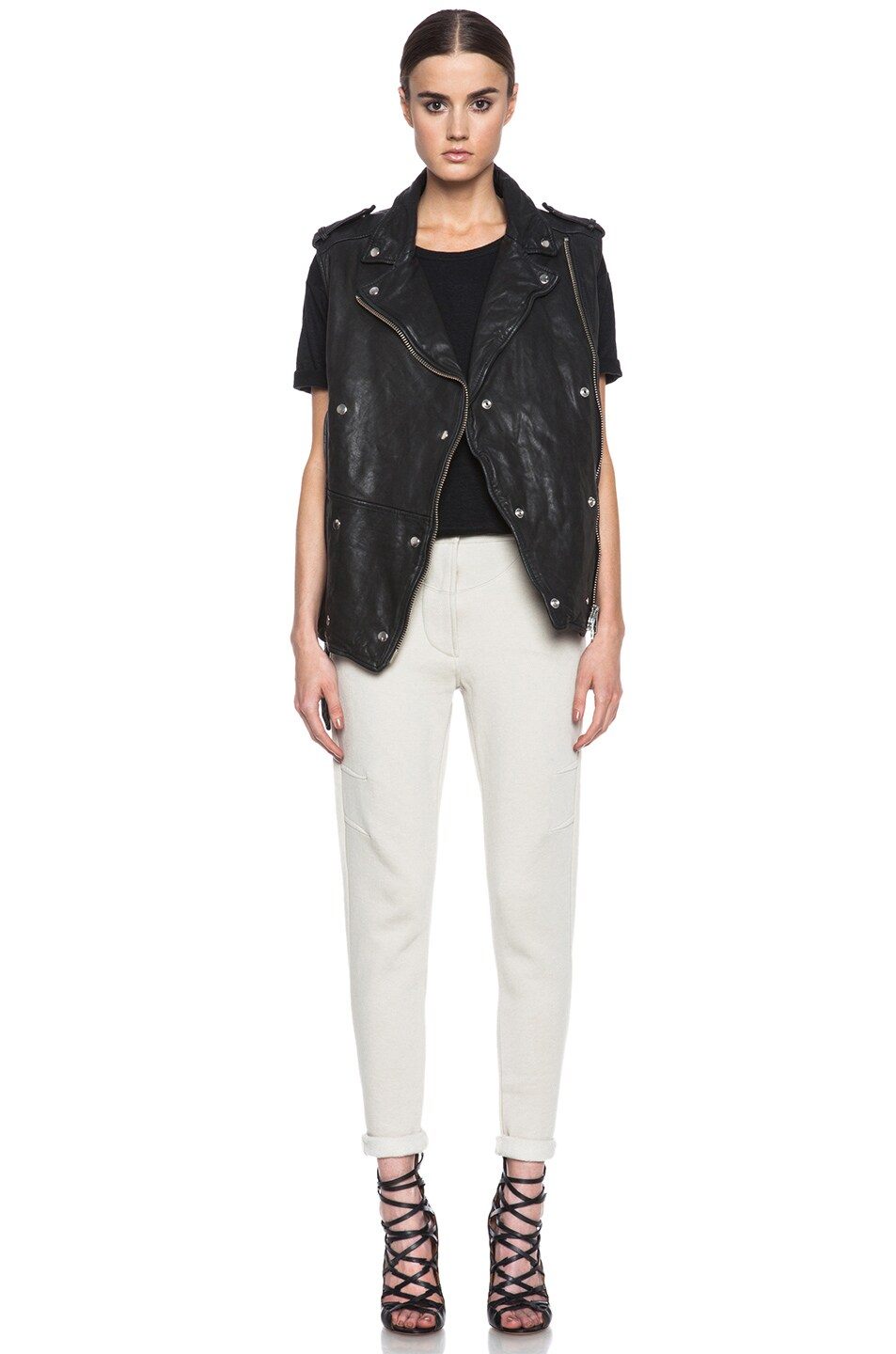 Image 6 of Isabel Marant Etoile Bracken Washed Lambskin Leather Vest in Black