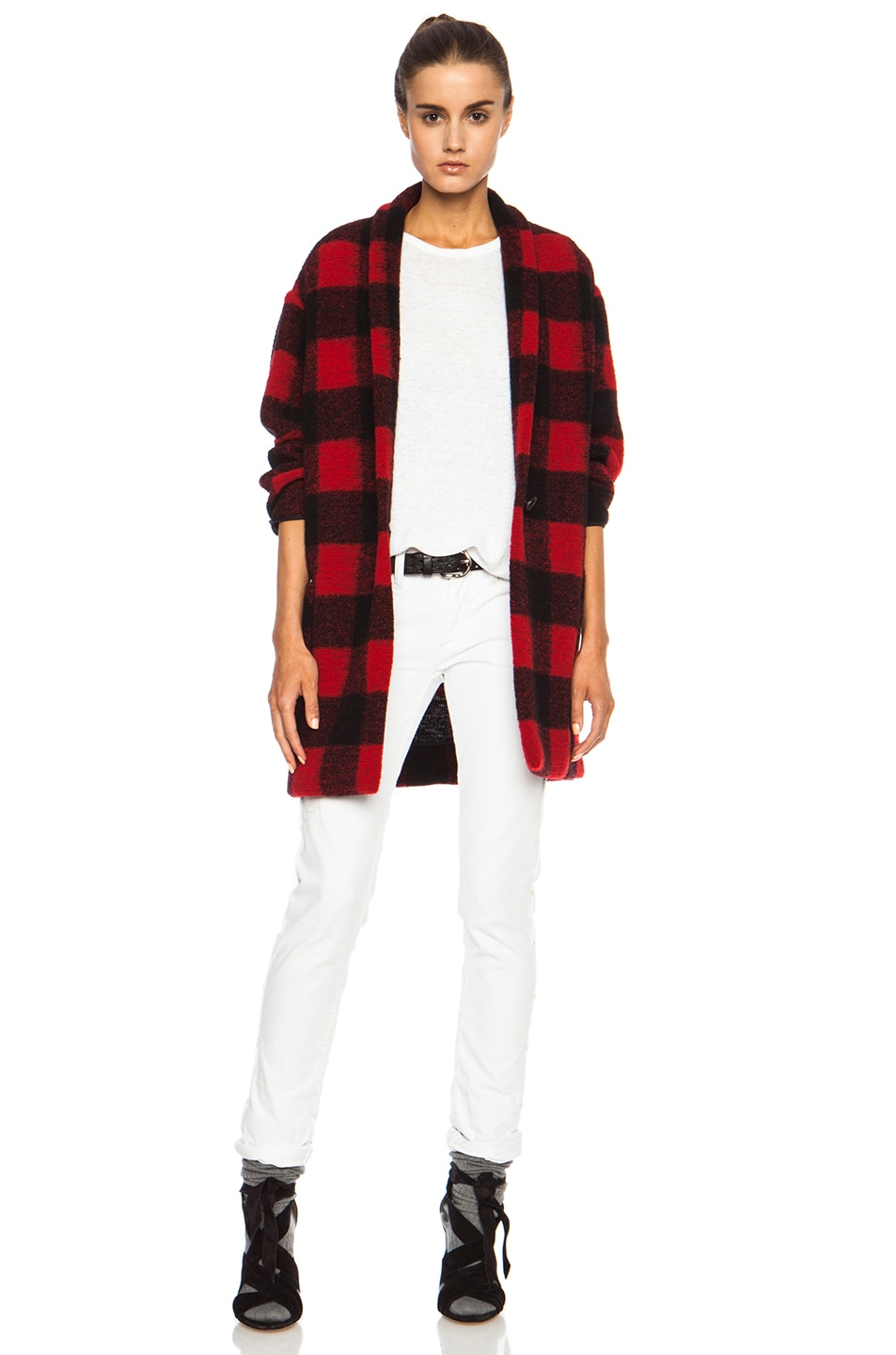 Image 1 of Isabel Marant Etoile Gabrie Check Wool-Blend Jacket in Black & Red