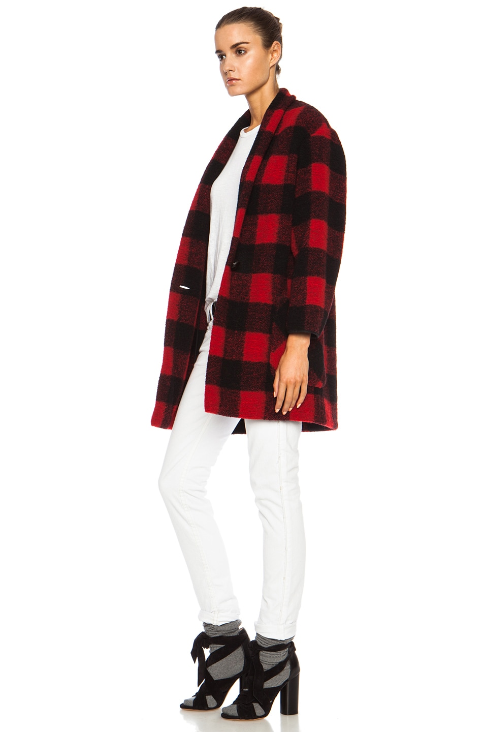 Image 3 of Isabel Marant Etoile Gabrie Check Wool-Blend Jacket in Black & Red