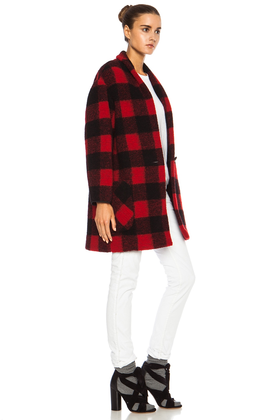 Image 4 of Isabel Marant Etoile Gabrie Check Wool-Blend Jacket in Black & Red