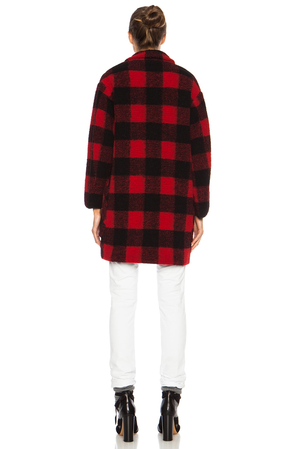 Image 5 of Isabel Marant Etoile Gabrie Check Wool-Blend Jacket in Black & Red