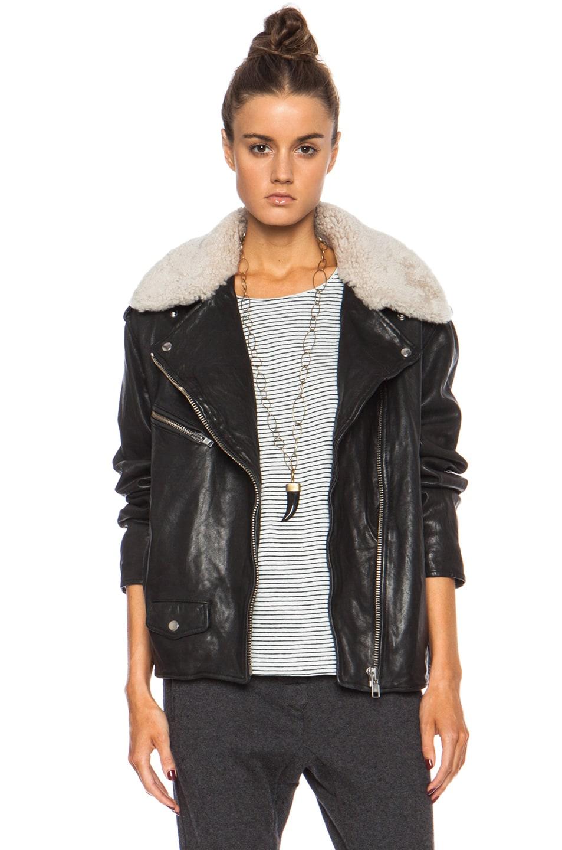 51387ba898 Image 1 of Isabel Marant Etoile Benny Washed Leather Jacket in Black