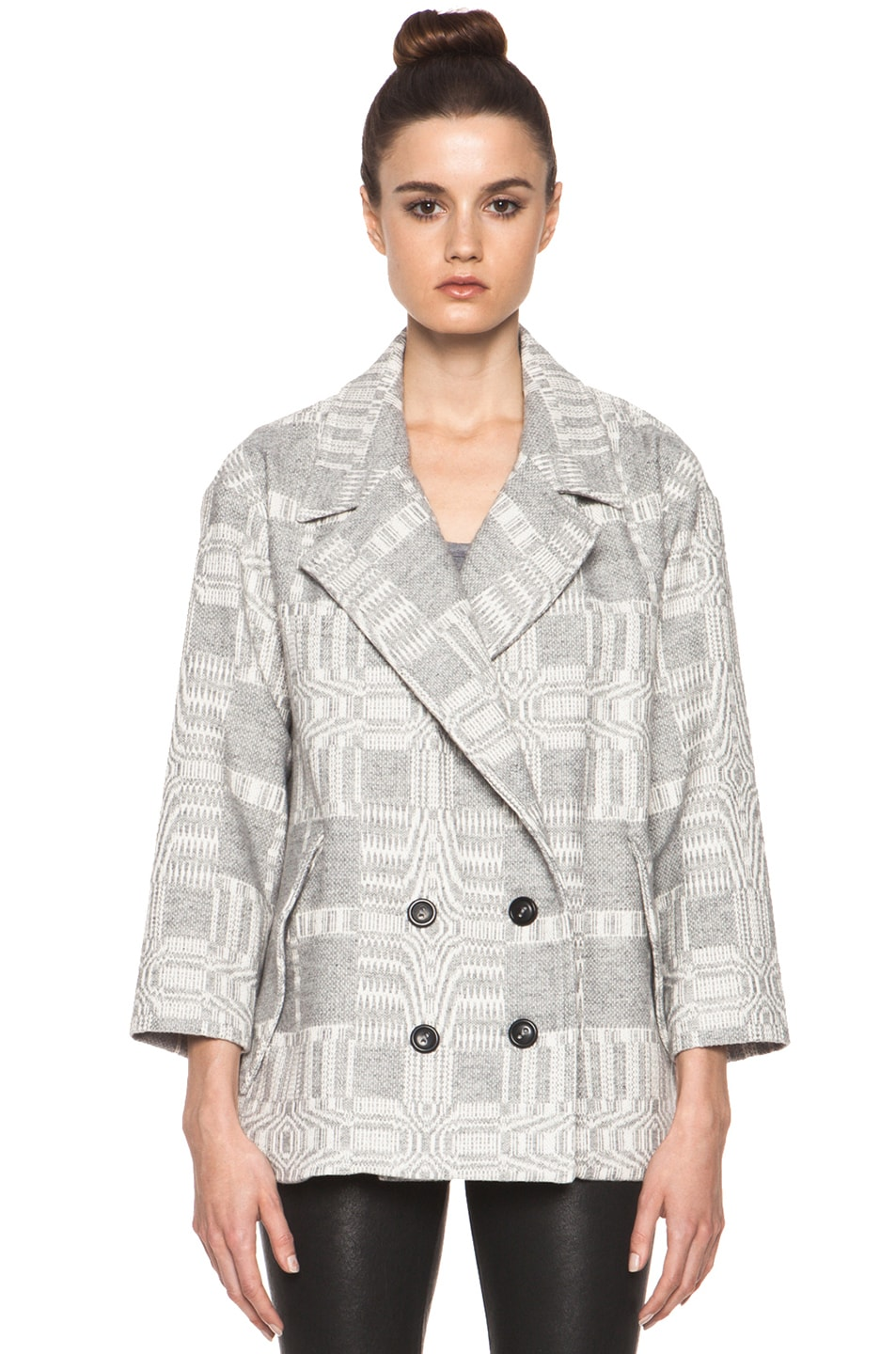 Image 1 of Isabel Marant Etoile Alika Blanket Coat in Gris Ecru