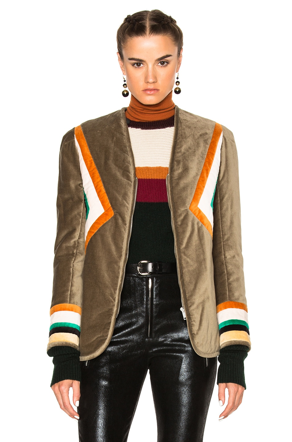 Image 1 of Isabel Marant Etoile Lalia Velvet Patch Jacket in Taupe