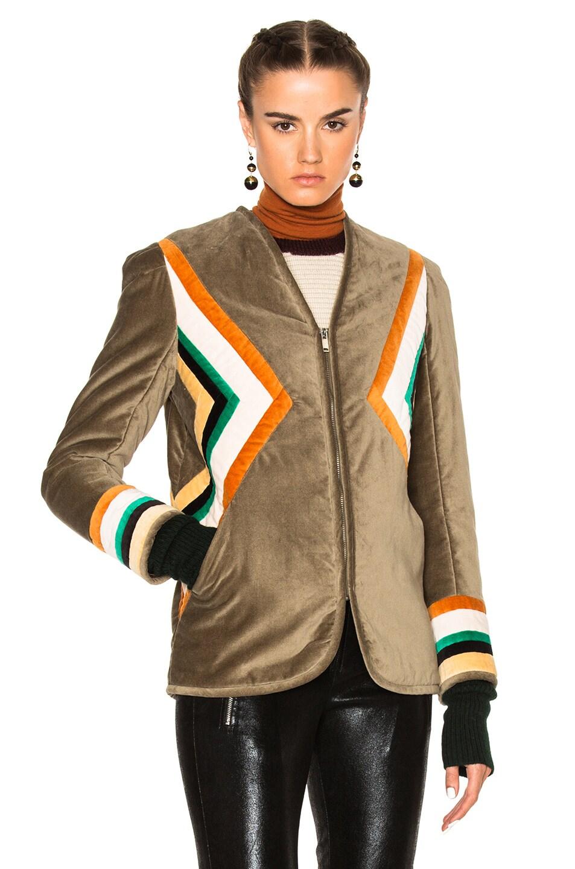 Image 2 of Isabel Marant Etoile Lalia Velvet Patch Jacket in Taupe